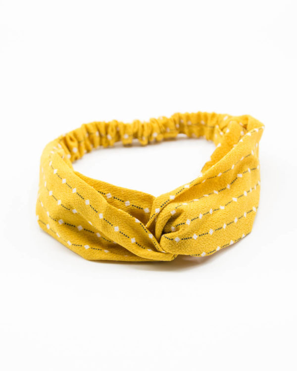 Headband Femme jaune points blancs